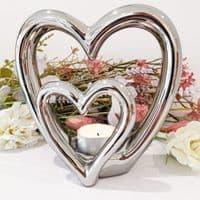 Silver Double Heart T-Light Holder